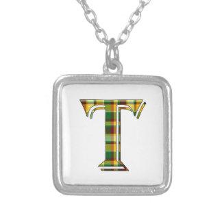 Collier Initiale de plaid de T