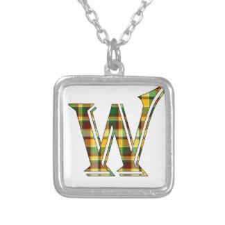 Collier Initiale de plaid de W