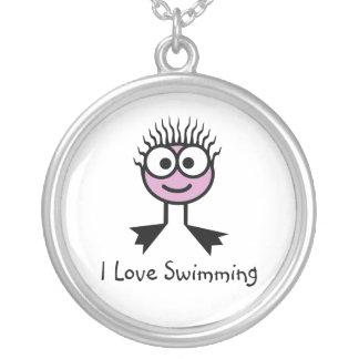 Collier J'aime nager - pâlissez - le caractère rose de