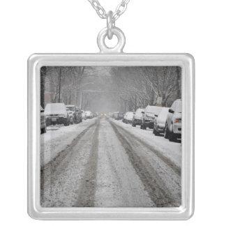 Collier La vue large de la neige unplowed a couvert la rue