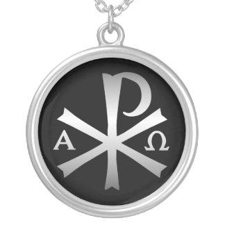 Collier Labarum chrétien d'icône avec alpha et Omega