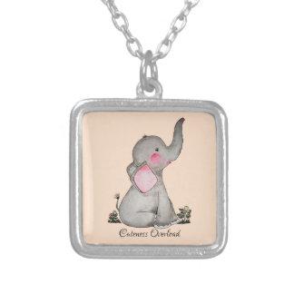 Collier L'éléphant mignon de bébé d'aquarelle avec