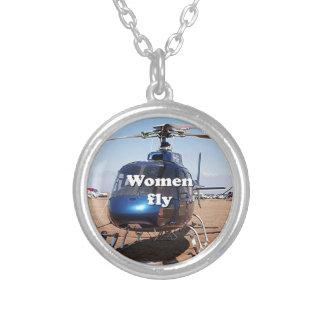 Collier Les femmes volent : hélicoptère bleu