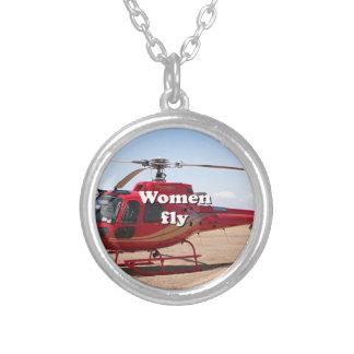 Collier Les femmes volent : hélicoptère rouge