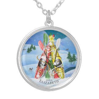 Collier Merveilles d'arbre de Noël du kayak des femmes de