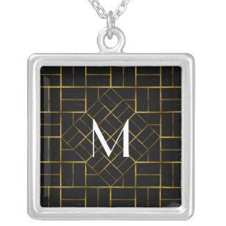 Collier Monogramme géométrique élégant de motif d'art déco