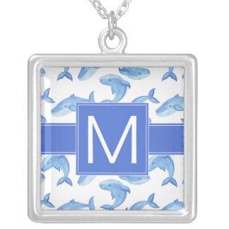 Collier Motif de baleine bleue d'aquarelle
