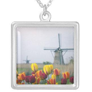 Collier Moulins à vent et tulipes le long du canal dedans