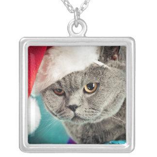 Collier Noël gris de chat - chat de Noël - chat de chaton