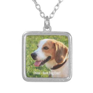 Collier Nom personnalisé de photo de chien de beagle et de