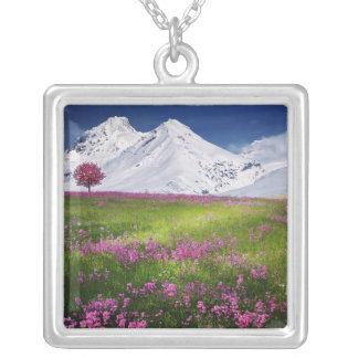 Collier Paysage pourpre de fleurs d'herbe de montagnes de
