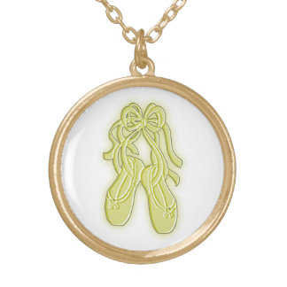 Collier/pendentif jaunes de pantoufles de ballet pendentif rond