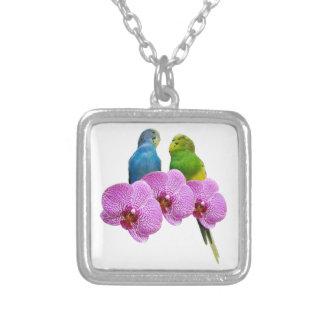 Collier Perruche avec l'orchidée pourpre