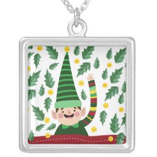 Collier Petit Noël heureux Elf dans le chandail vert
