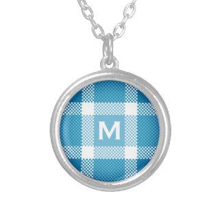 Collier Plaid blanc bleu avec le monogramme minuscule