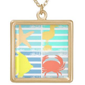 Collier Plaqué Or 4 carrés de conception d'océan