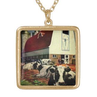 Collier Plaqué Or Affaires vintages, vaches à lait du Holstein à