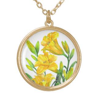 Collier Plaqué Or Art floral jaune d'hémérocalles d'aquarelle
