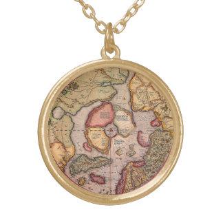 Collier Plaqué Or Carte de Vieux Monde antique, Pôle Nord arctique,