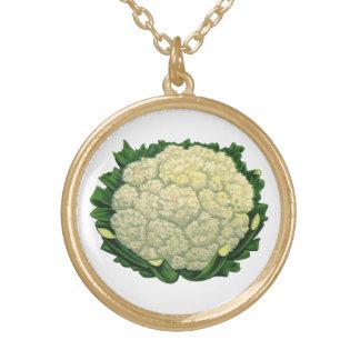 Collier Plaqué Or Chou-fleur vintage de légume de légumes de