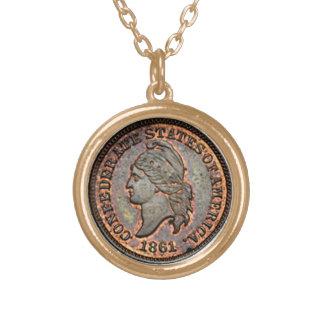 Collier Plaqué Or Confédéré des Etats-Unis du penny 1861 de guerre