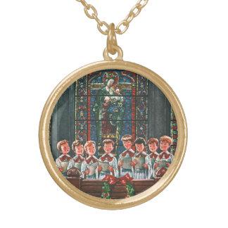 Collier Plaqué Or Enfants vintages de Noël chantant le choeur dans