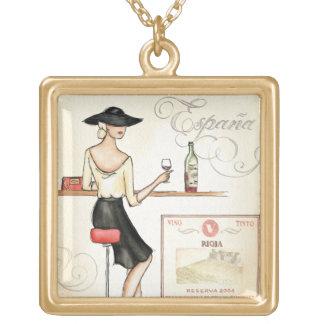 Collier Plaqué Or Fashionista de vin