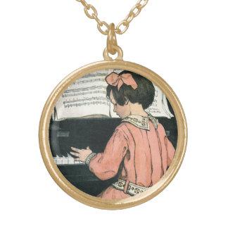 Collier Plaqué Or Fille vintage de musique de piano par Jessie