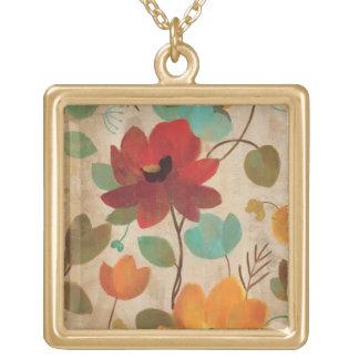 Collier Plaqué Or Fleurs et bourgeons colorés
