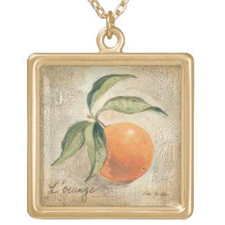 Collier Plaqué Or Fruit orange brillant rond
