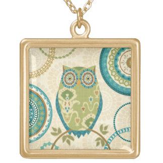 Collier Plaqué Or Hibou décoratif avec des conceptions circulaires