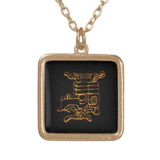 Collier Plaqué Or Hiéroglyphes maya d'or