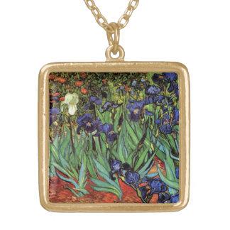 Collier Plaqué Or Iris de Van Gogh, beaux-arts vintages de jardin