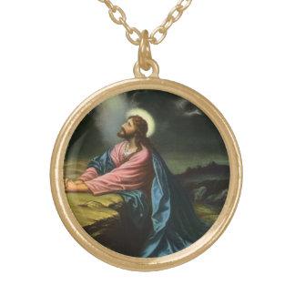 Collier Plaqué Or Jésus-Christ vintage priant dans Gethsemane