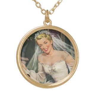 Collier Plaqué Or Jeune mariée vintage avec la demoiselle de honneur