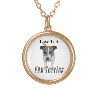 Collier Plaqué Or L'amour est un Fox Terrier, d'or
