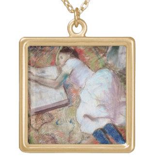 Collier Plaqué Or Lecteur d'Edgar Degas | se couchant, c.1889