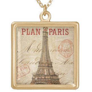 Collier Plaqué Or Lettre de Paris