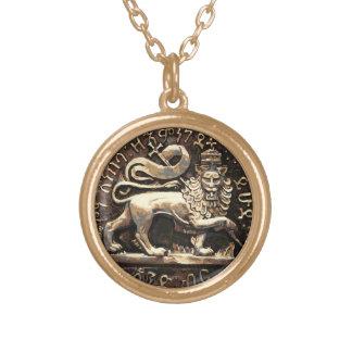 Collier Plaqué Or Lion de Rasta de finition pendante d'or de Judah