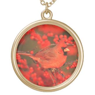 Collier Plaqué Or Mâle cardinal du nord rouge, IL