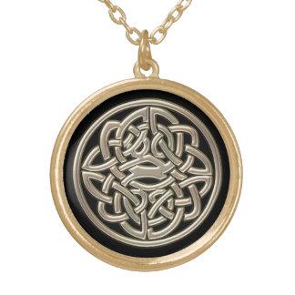 Collier Plaqué Or Noir avec le noeud de Celtic en métal d'or