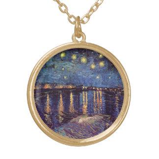 Collier Plaqué Or Nuit étoilée de Van Gogh au-dessus du Rhône,