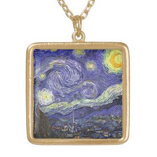 Collier Plaqué Or Nuit étoilée de Van Gogh, paysage vintage de