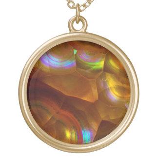 Collier Plaqué Or Opale de feu orange iridescente