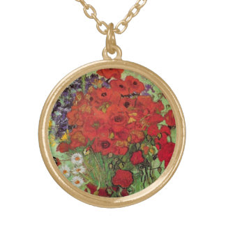 Collier Plaqué Or Pavots de Van Gogh et marguerites rouges, fleurs