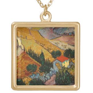 Collier Plaqué Or Paysage de Vincent van Gogh   avec la Chambre et