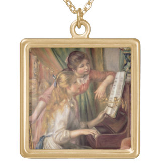 Collier Plaqué Or Pierre jeunes filles de Renoir un | au piano