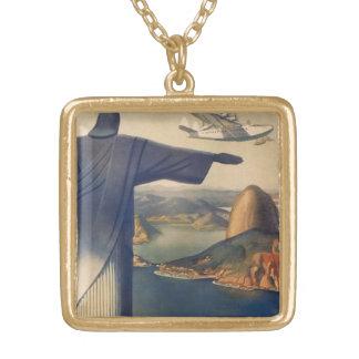 Collier Plaqué Or Rio de Janeiro vintage, le Christ la statue de