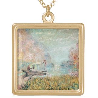 Collier Plaqué Or Studio de bateau de Claude Monet | sur la Seine