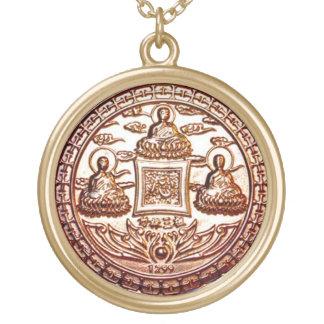 Collier Plaqué Or Talisman de miracle de Trikaya Bouddha d'or